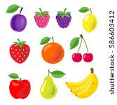 set of colorful cartoon fruit... | Shutterstock .eps vector #586603412
