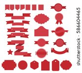 red vector ribbons and lables...   Shutterstock .eps vector #586604465