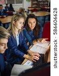 teen student is working with... | Shutterstock . vector #586606628