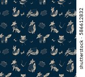 fashion foxes pattern | Shutterstock .eps vector #586612832