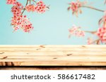 top of wood table empty ready... | Shutterstock . vector #586617482