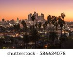 beautiful sunset of los angeles ... | Shutterstock . vector #586634078