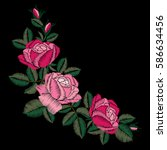 roses embroidery on black... | Shutterstock .eps vector #586634456
