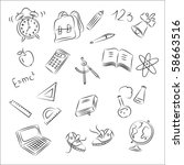 back to school sketch collection | Shutterstock .eps vector #58663516