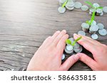 plant coins to profit concept... | Shutterstock . vector #586635815