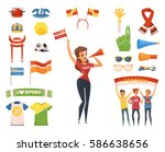 colored and isolated fan rooter ... | Shutterstock .eps vector #586638656