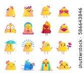 funny chicken animation cartoon ... | Shutterstock .eps vector #586643846