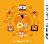 printing details on orange... | Shutterstock .eps vector #586643876