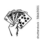 hand of cards   retro clip art | Shutterstock .eps vector #58665001