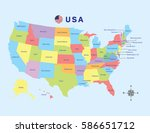 colorful map of united states... | Shutterstock .eps vector #586651712
