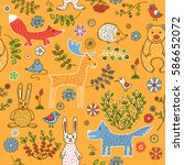 seamless pattern on the theme... | Shutterstock . vector #586652072