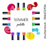 summer palette of colorful nail ...