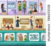 subway people horizontal... | Shutterstock .eps vector #586653338