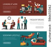 lazy people set of horizontal... | Shutterstock .eps vector #586653362