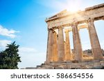 parthenon temple in the... | Shutterstock . vector #586654556