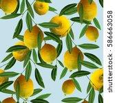 lemons seamless pattern. raster ... | Shutterstock . vector #586663058