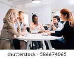 business people board meeting... | Shutterstock . vector #586674065