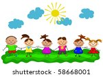 vector happy kids. | Shutterstock .eps vector #58668001