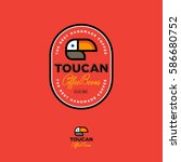 toucan icon. coffee beans... | Shutterstock .eps vector #586680752
