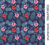 summer seamless pattern with... | Shutterstock .eps vector #586693802