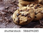 Chocolate Cookies On Wooden...