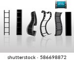 set of vector film strip... | Shutterstock .eps vector #586698872