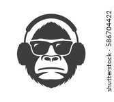 monkey in sunglasses and... | Shutterstock .eps vector #586704422
