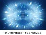 abstract blue fractal... | Shutterstock . vector #586705286