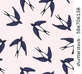swallow pattern  vector ... | Shutterstock .eps vector #586706138