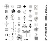 set of different elements and... | Shutterstock .eps vector #586710632