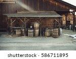 Old Vintage Barrels Near Retro...