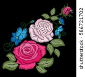 roses embroidery on black... | Shutterstock .eps vector #586721702