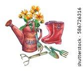 vintage red garden watering can ... | Shutterstock . vector #586726316