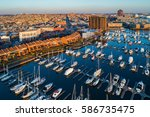 aerial view of a marina and... | Shutterstock . vector #586735475