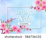 spring sale background with... | Shutterstock .eps vector #586736132