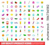 100 beauty product icons set in ... | Shutterstock .eps vector #586736582