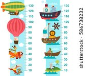 air and sea transport height... | Shutterstock .eps vector #586738232