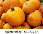 A large pile of Thanksgiving or Halloween pumpkins in the horizontal format. - stock photo
