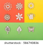 colorful collage papers with... | Shutterstock . vector #586740836