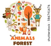 animals of forest part 2   ... | Shutterstock .eps vector #586741676