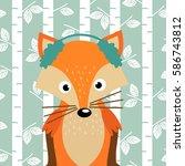fox on background of birch... | Shutterstock .eps vector #586743812