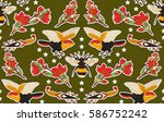 seamless indian pattern. set of ... | Shutterstock .eps vector #586752242