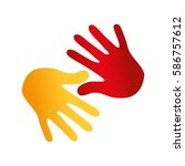 hand human silhouette colors... | Shutterstock .eps vector #586757612