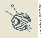 yarn ball with knitting needles ... | Shutterstock .eps vector #586765082