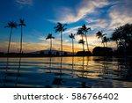 blue hawaiian sunset over pool | Shutterstock . vector #586766402