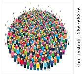 large group of stylized people... | Shutterstock .eps vector #586768376