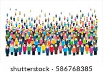 large group of stylized people. | Shutterstock .eps vector #586768385