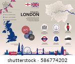 london travel infographic. set... | Shutterstock .eps vector #586774202