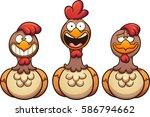 happy cartoon hens. vector clip ... | Shutterstock .eps vector #586794662