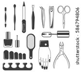 set of equipment manicure and...